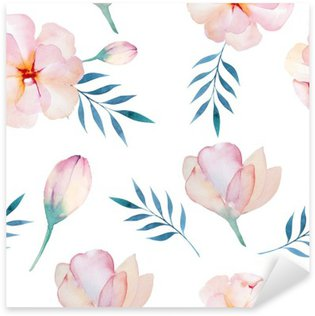 Pixerstick Sticker Naadloos behang met gestileerde bloemen, aquarel illustratio
