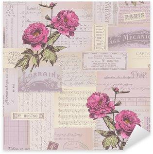 Pixerstick Sticker Naadloos betegelen papier collage patroon met pioenen