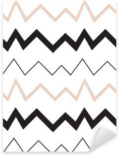Pixerstick Sticker Naadloos geometrisch patroon. Minimalistische moderne stijl. Abstract bergen. Zigzag. Het is zwart wit en naakt kleuren.