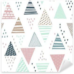 Pixerstick Sticker Naadloos patroon met decoratieve hand getekende driehoeken.