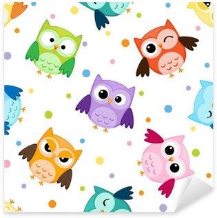 Pixerstick Sticker Naadloos patroon met kleurrijke uilen