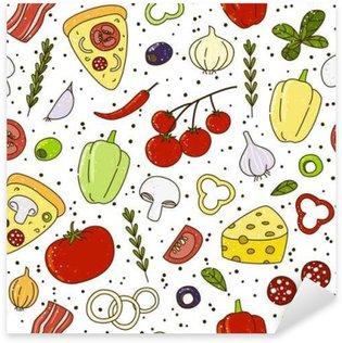 Pixerstick Sticker Naadloos patroon met pizza ingrediends