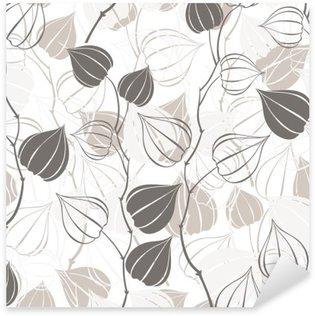 Pixerstick Sticker Naadloos patroon met takken physalis. Abstract floral achtergrond.