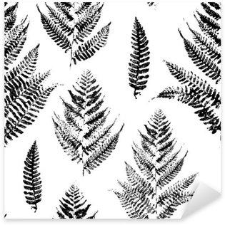Pixerstick Sticker Naadloos patroon met verf afdrukken van varenbladeren