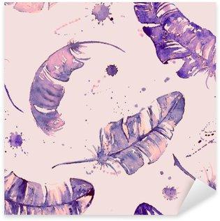 Pixerstick Sticker Naadloos patroon met waterverf veren