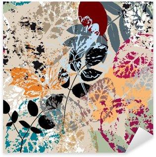 Pixerstick Sticker Naadloze achtergrond patroon, met bladeren, beroertes en spatten