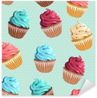 Pixerstick Sticker Naadloze cupcakes en polka dot