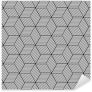 Pixerstick Sticker Naadloze geometrische patroon met blokjes.