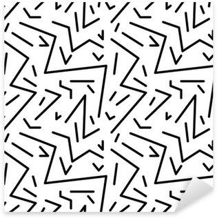Pixerstick Sticker Naadloze geometrische vintage patroon in retro jaren '80 stijl, Memphis. Ideaal voor stof ontwerp, papier print en website achtergrond. EPS10 vector-bestand