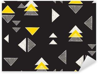 Pixerstick Sticker Naadloze hand getekende driehoeken patroon.