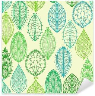 Pixerstick Sticker Naadloze hand getekende vintage patroon met groene sierlijke bladeren