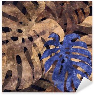 Pixerstick Sticker Naadloze herhaalbare monstera blad achtergrond