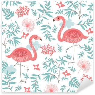 Pixerstick Sticker Naadloze patroon met een roze flamingo