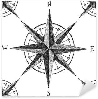 Pixerstick Sticker Naadloze patroon met wind rose