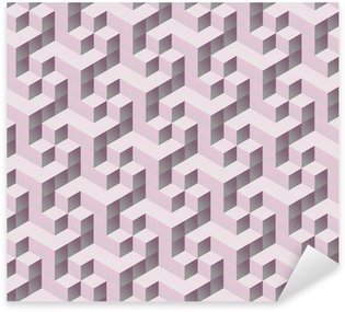 Pixerstick Sticker Naadloze tilable roze 3d isometrische kubus patroon