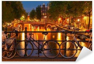 Pixerstick Sticker Nachtverlichting van de Amsterdamse gracht en brug