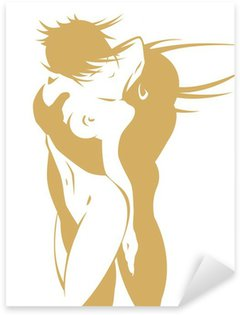Naked couple in a passionate kiss Sticker - Pixerstick