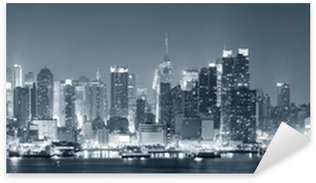 Sticker Pixerstick New York City Manhattan en noir et blanc