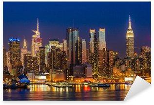 Pixerstick Sticker New York City Manhattan midtown gebouwen skyline 's nachts