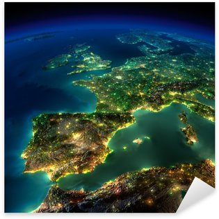 Night Earth. A piece of Europe - Spain, Portugal, France Sticker - Pixerstick