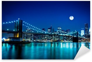 Night Scene Brooklyn Bridge and New York City Sticker - Pixerstick