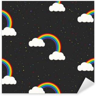 Sticker - Pixerstick Night sky fantasy kid seamless pattern. Star confetti, clouds and rainbow boy grey wallpaper and fabric design.