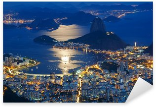 Sticker - Pixerstick Night view of mountain Sugar Loaf and Botafogo in Rio de Janeiro