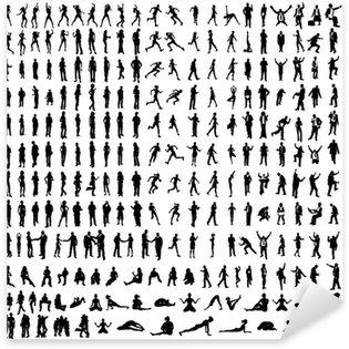 Sticker Pixerstick Nombreux silhouettes très détaillées, y compris les entreprises, des danseurs, yoga
