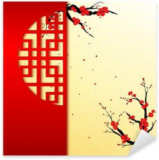 Sticker Pixerstick Nouvel an chinois Cherry Blossom Contexte