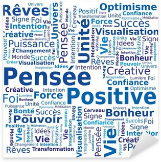 Sticker Pixerstick Nuage de Mots - Pensée Positive en Français
