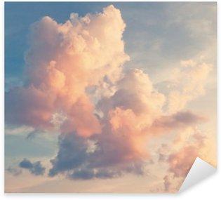Sticker Pixerstick Nuages roses sur un ciel bleu