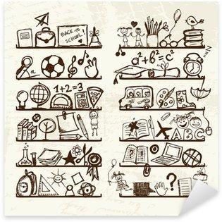 Sticker Pixerstick Objets de l'école sur des étagères, dessin croquis pour votre conception