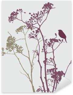 Sticker Pixerstick Oiseau sur les fleurs de prairie