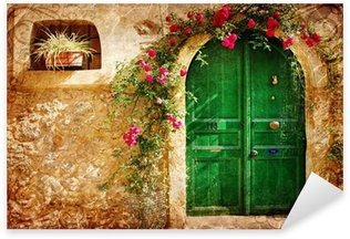 Sticker - Pixerstick old Greek doors - retro styled picture