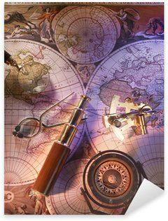 Sticker - Pixerstick Old nautical map with compass and brass telescope