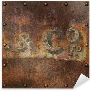 rivets in rusty metal. old rusty metal sticker - pixerstick rivets in