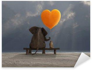 Pixerstick Sticker Olifant en hond die een hartvormige ballon