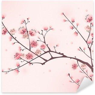 Pixerstick Sticker Oosterse stijl schilderen, kersenbloesem in het voorjaar