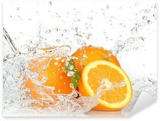 Sticker Pixerstick Orange fruits avec de l'eau éclaboussant