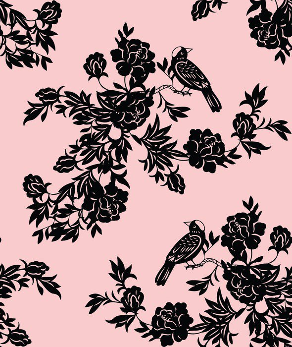 Sticker - Pixerstick Oriental floral and bird patterns - Themes
