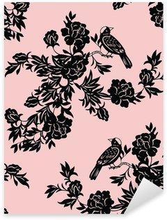 Sticker Pixerstick Oriental motifs floraux et d'oiseaux