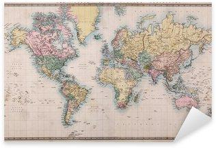 Pixerstick Sticker Oude Antieke Kaart van de Wereld op Mercators Projectie