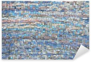 Pixerstick Sticker Oude blauwe en lila mozaïektextuur