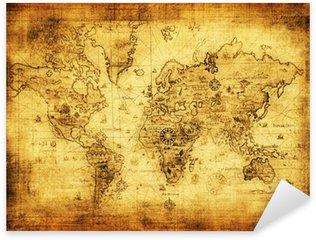 Pixerstick Sticker Oude kaart van de wereld