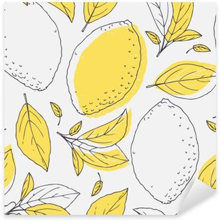 Outline seamless pattern with hand drawn lemon and leaves. Doodle fruit for package or kitchen design Sticker - Pixerstick