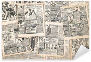 Sticker Pixerstick Pages de journaux avec publicité antique