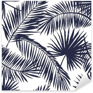 Sticker - Pixerstick Palm leaves silhouette on the white background. Vector seamless pattern with tropical plants.
