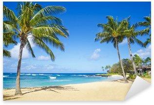 Sticker Pixerstick Palmiers sur une plage de sable à Hawaii