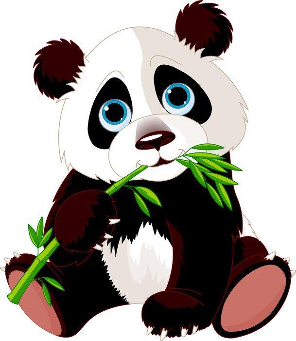 Sticker - Pixerstick Panda eating bamboo - Wall decals