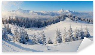 Sticker Pixerstick Panorama de montagne en hiver